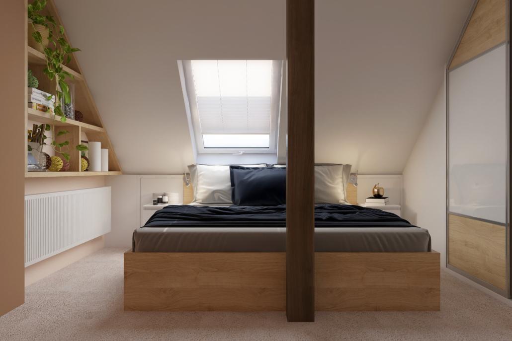 Romantická ložnice v podkroví