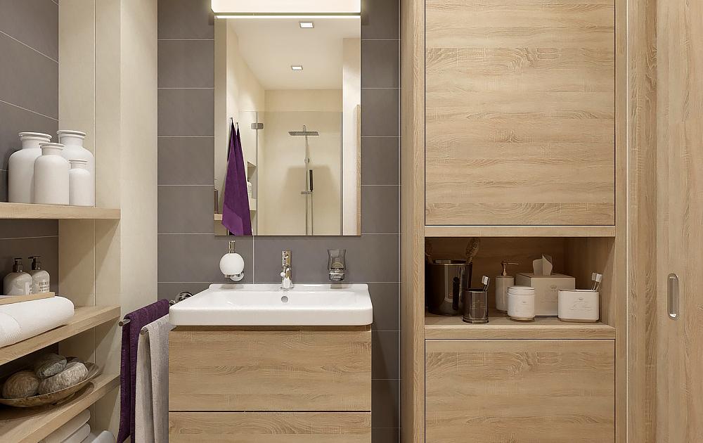 Menší koupelna navržena v jedinečném stylu