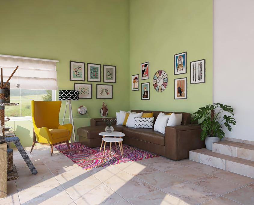 Obývací pokoj v temperamentním BOHO stylu